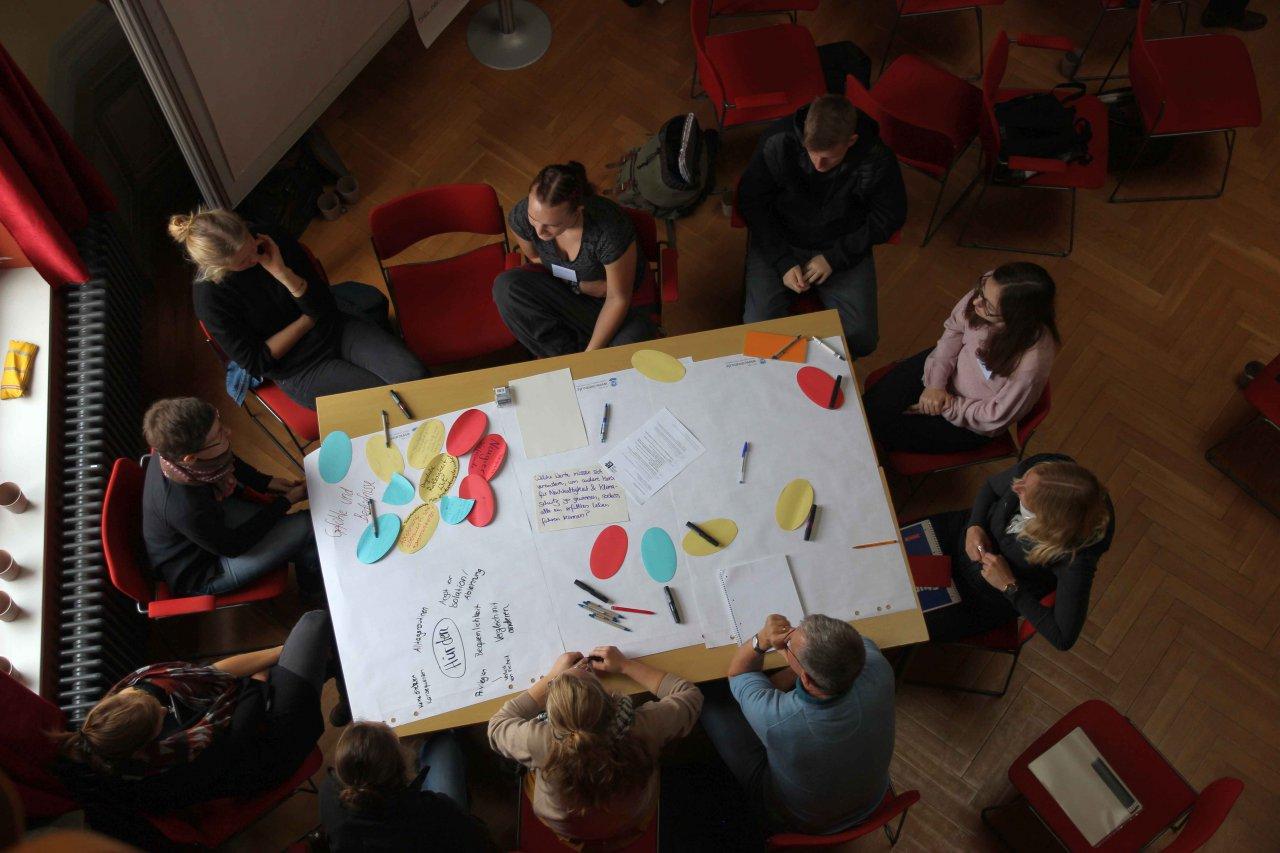img-1546632167732925c10efd4c3761 Foto 1: Graphic Recording (Überregionale Werkstatt Viernheim) - CCL<br /> Foto 2: Rad der Nachhaltigkeit (Werkstatt Mölln) - CCL<br /> Foto 3: Gruppenpräsentation (Werkstatt Region Augsburg) - CCL<br /> Foto 4: Fishbowl (Werkstatt Kreis Siegen-Wittgenstein) - CCL<br /> Foto 5: Gruppenarbeit (Werkstatt Greifswald) - CCL